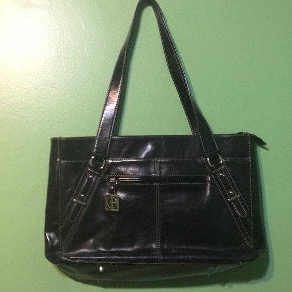 Giani Bernini Handbags - Black Leather white stitching Bag